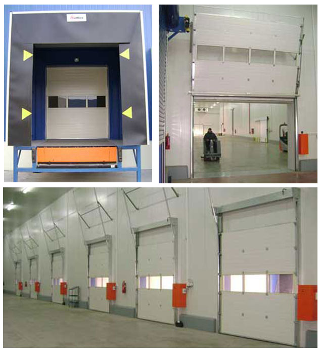 Hydraulic sectional overhead doors