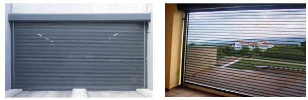 Perforated roller shutters for stores
