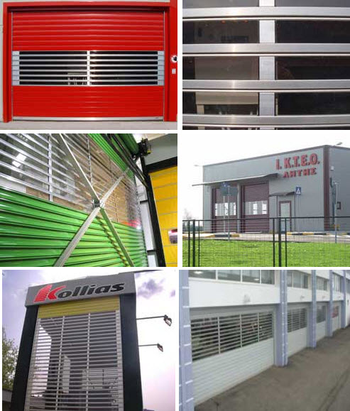 Roller shutters with transparent exposures